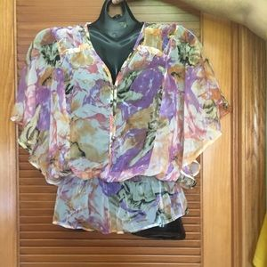 Sheer summer floral blouse